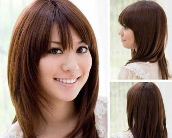 Укладка на средние волосы каскад с челкой