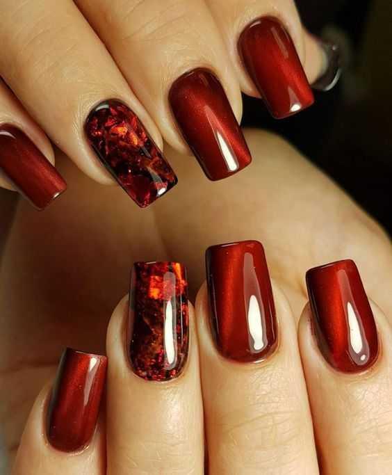 Гель лак красный с блестками дизайн ногтей